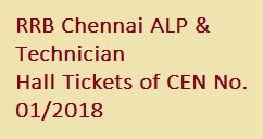 RRB Chennai ALP Technician Hall Tickets